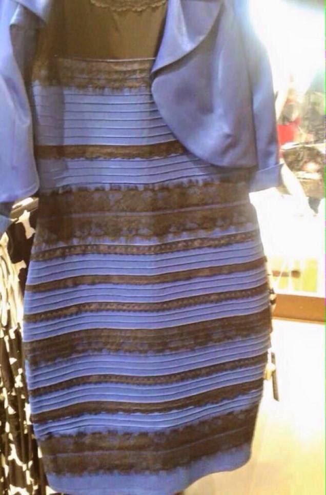 Jalur Putih Emas atau Hitam dan Biru Mana Satu Warna yang Anda Nampak Pada Baju Ini