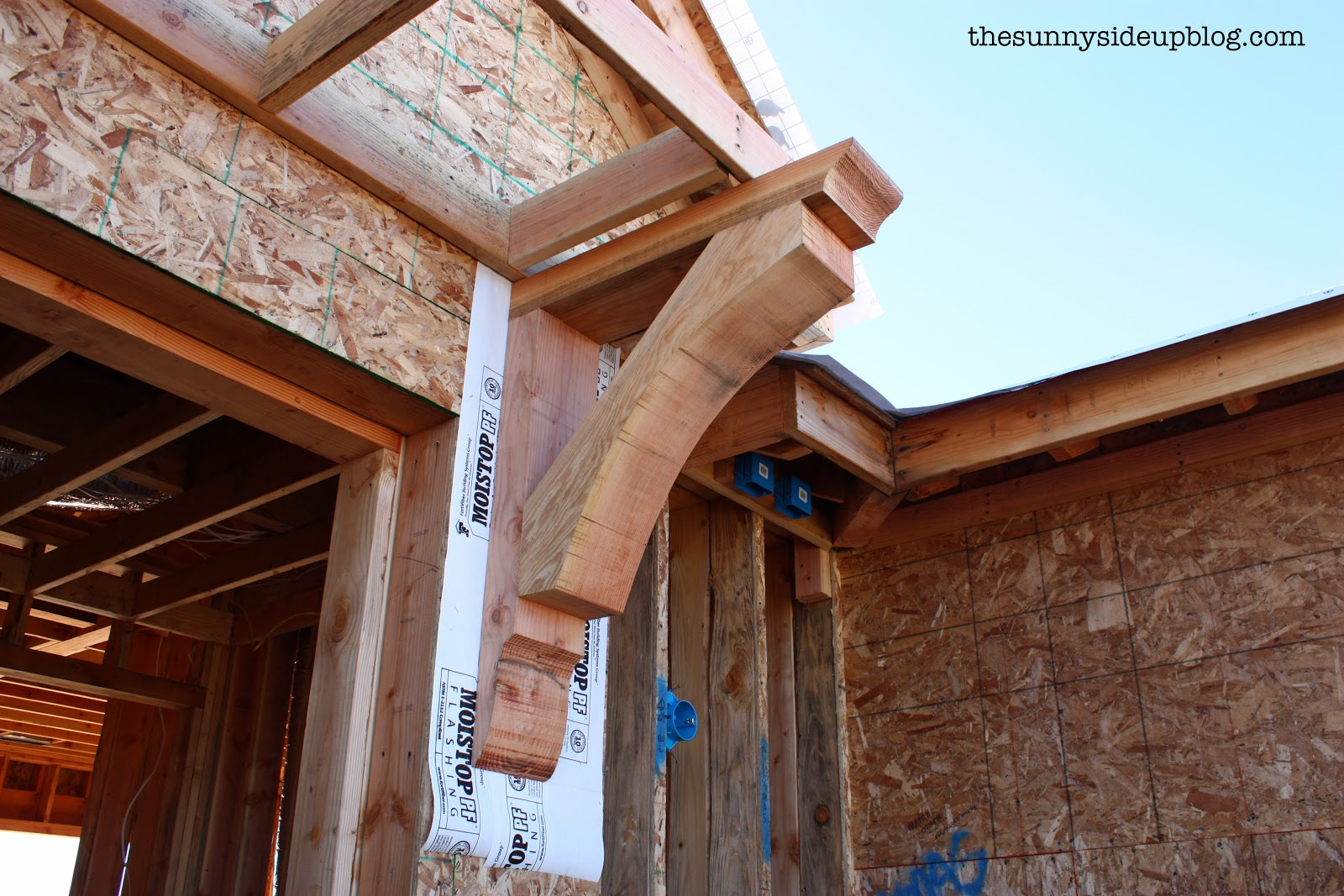 New house update exterior the sunny side up blog for Large exterior corbels