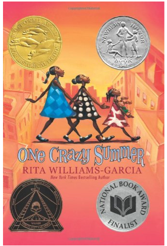 http://www.amazon.com/One-Crazy-Summer-Rita-Williams-Garcia/dp/0060760907/ref=sr_1_1?s=books&ie=UTF8&qid=1403414864&sr=1-1&keywords=one+crazy+summer+by+rita+williams-garcia