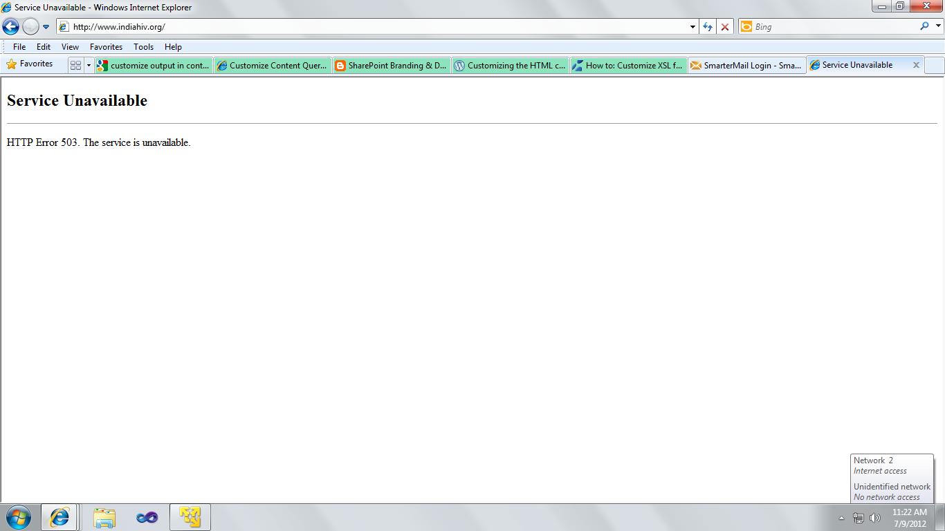 ora-29269 http server error 503 - service unavailable