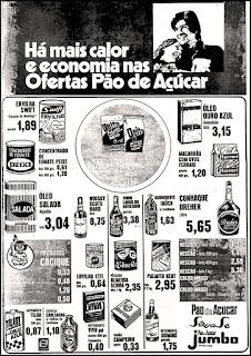 Supermercado Pão de Açucar - Jumbo, reclame década de 70;  propaganda década de 70; Brazil in the 70s; Reclame anos 70; História dos anos 70; Oswaldo Hernandez;