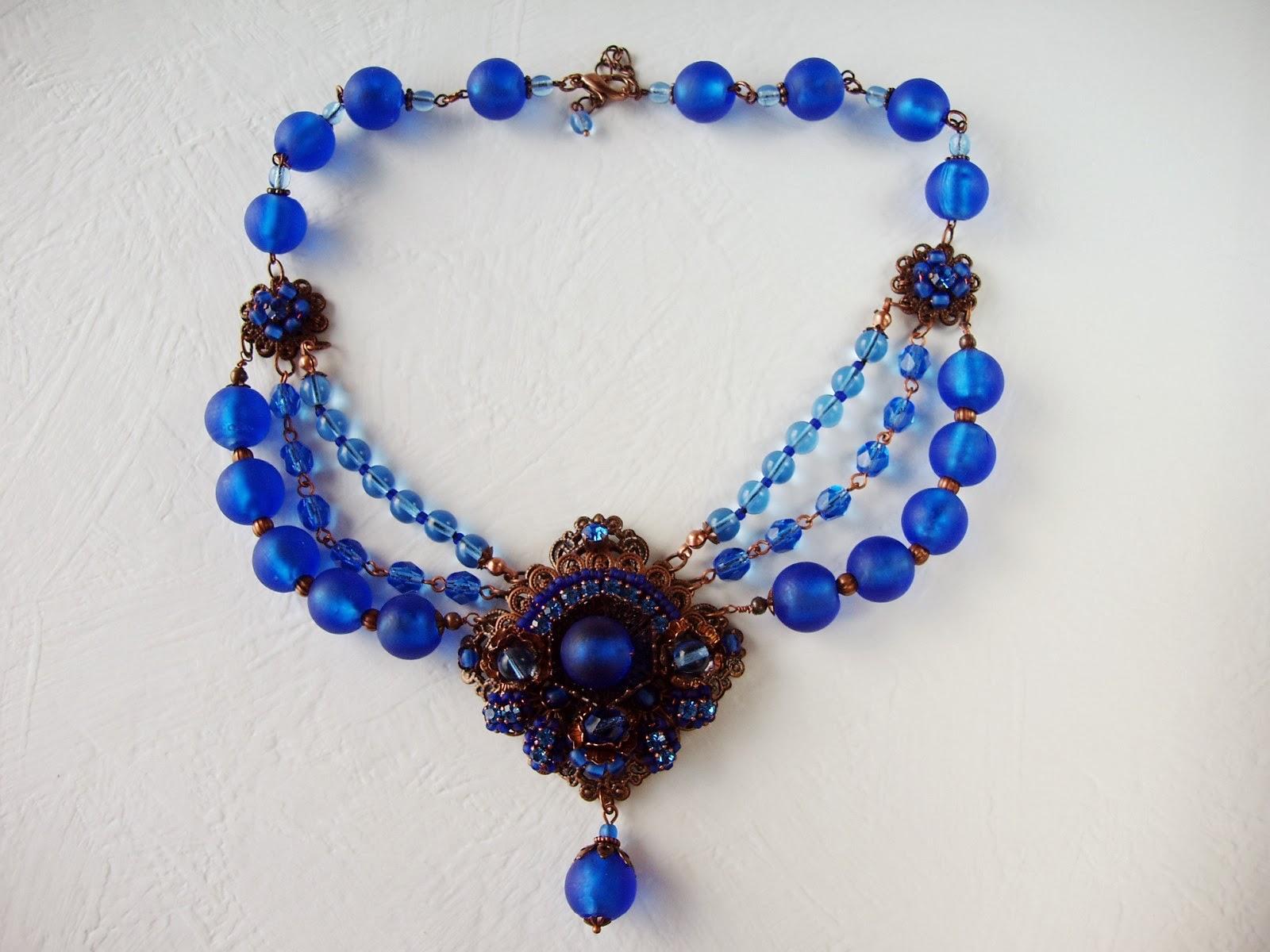vintage Swarovski mdmButiik rhinestone jewelry designer Estonia Collier Bijoux perles de verre ancienne crystal Schmuck halskette perlen glas