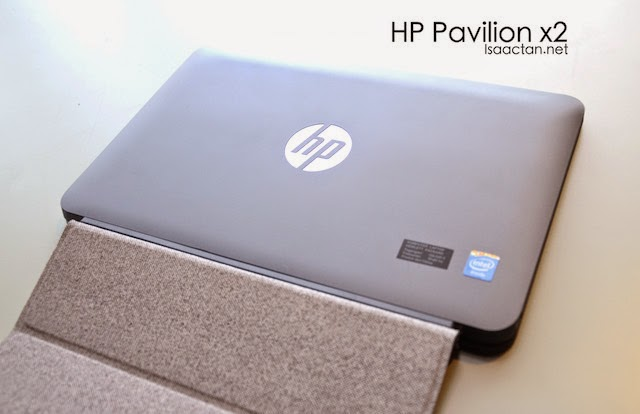 Opening the cover reveals the HP Pavilion x2