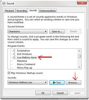 Cara Mengganti nada Peringatan Baterai Low Pada Windows 7