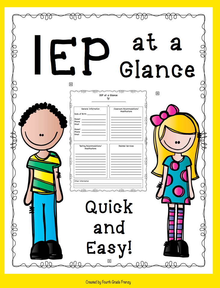 4th grade frenzy for Iep at a glance template