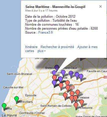 Carte de la pollution de l'eau dans le département de la Seine Maritime