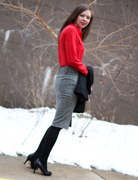 Red Silk Blouse, Tweed Skirt Suit | StyleSidebar
