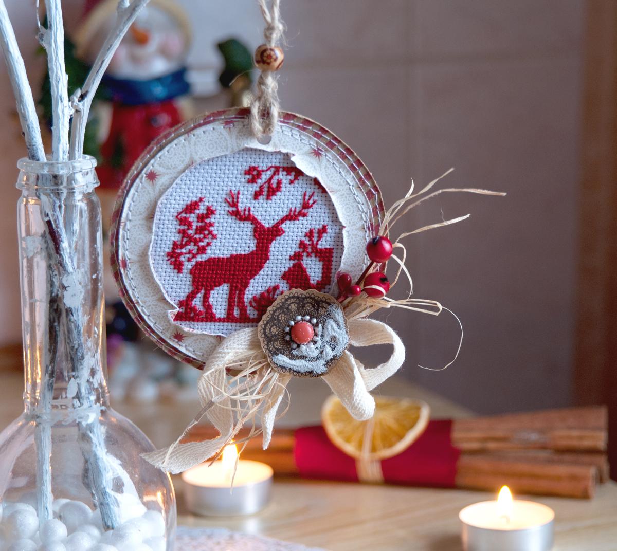 вышивка+олень+рождество+украшение