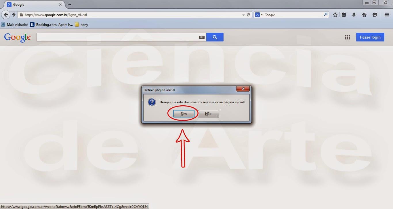 Como Colocar o Google como página inicial do Firefox - Opção 2 - Clique em Sim