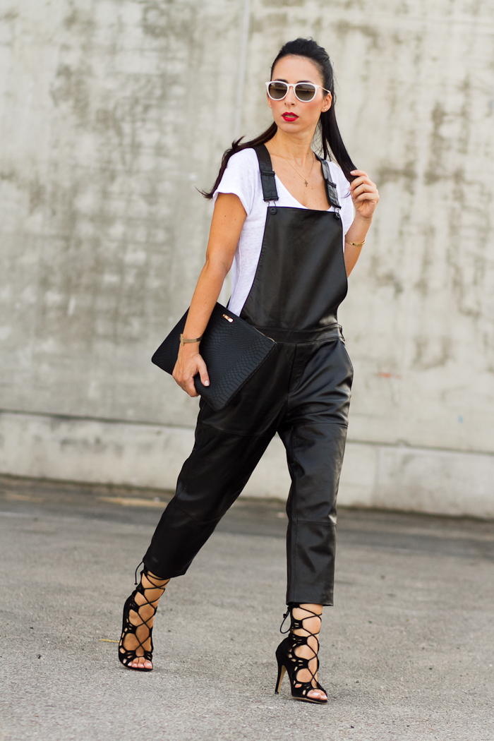 #MBFWMadrid: BLACK LEATHER DUNGAREE