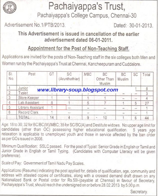 Library Soup: Library Assistant Vacancy at Pachaiyappa's Trust
