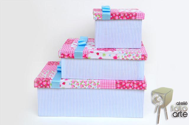 Jogo de caixas decoradas com tecido