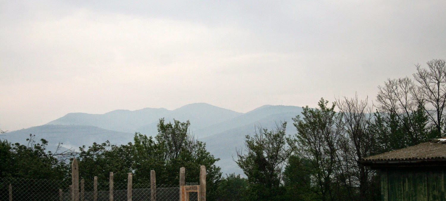 Mountains just about visible this morning