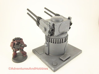 25 to 30mm scale war game scenery weapons gun turret with quad barrel cannons - left side view.