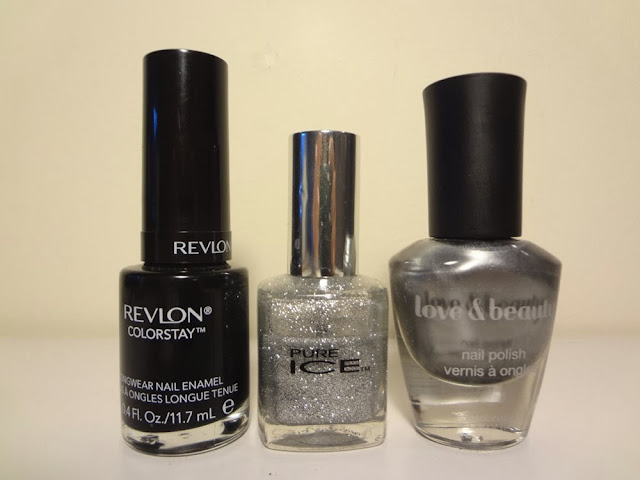 Nail polish, stiletto by revlon, beware by pure ice, grey by love & beauty