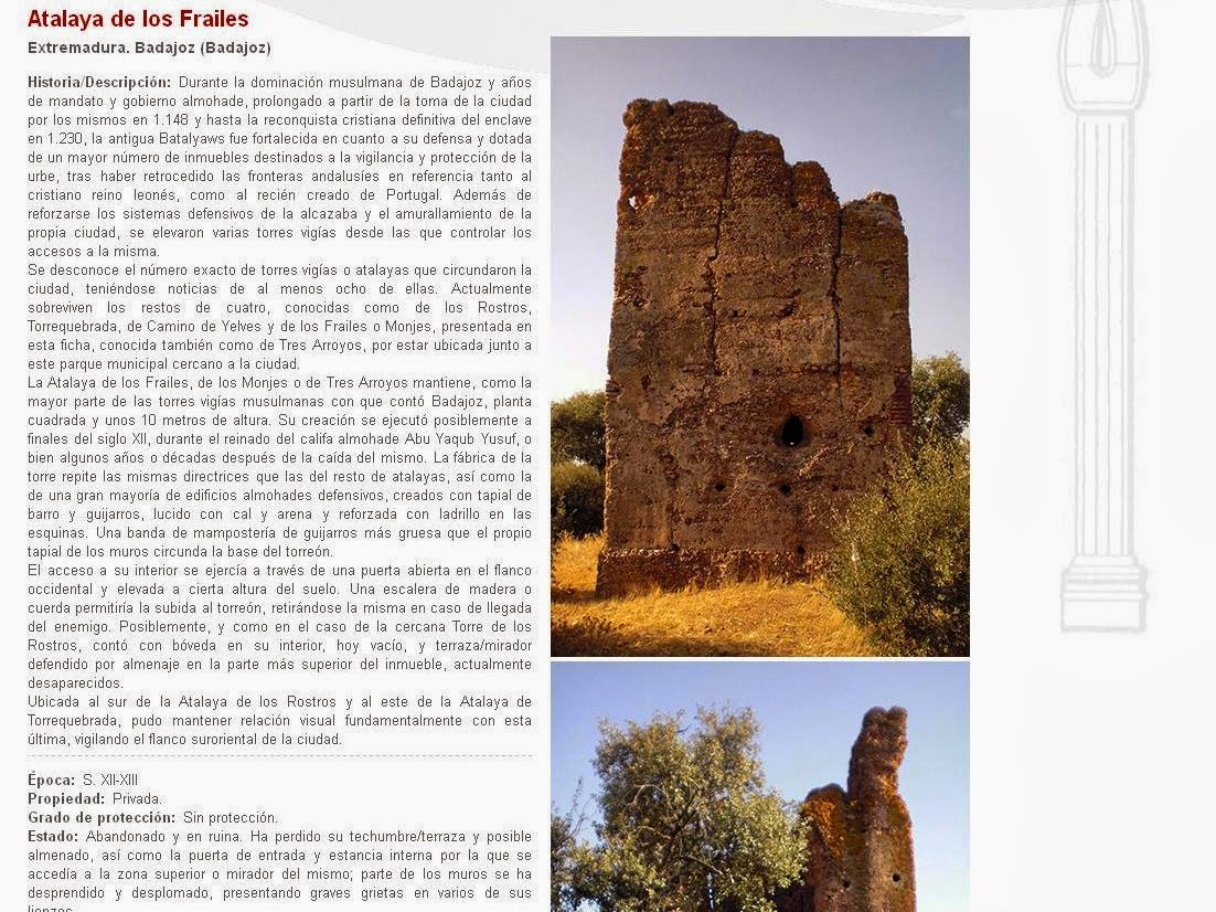 Lista Roja del Patrimonio: Atalaya de los Frailes (Badajoz)