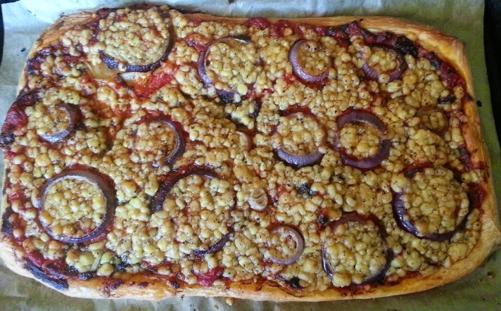 Pilgrims Choice Mature Cheddar with Black Pepper Crumbles Review cheats pizza with puff pastry cooked
