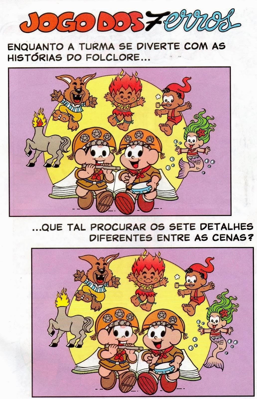 Lendas do Folclore - Jogo dos 7 erros - Turma da Mônica