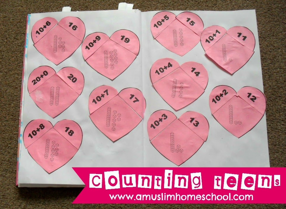 Making, counting and expanding teen mumbers - heart matching activity!