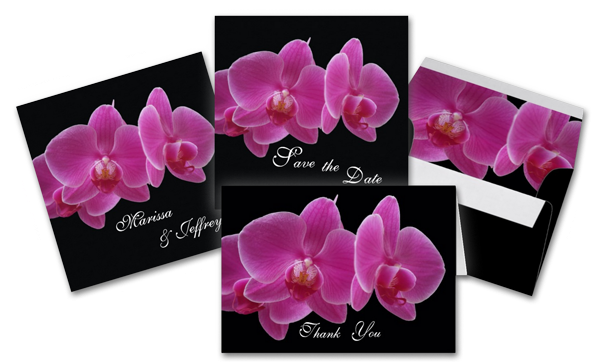 Elegant Purple Orchids Wedding Invitation