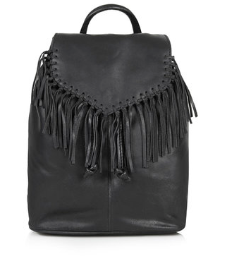 Suede Fringe Backpack, Topshop