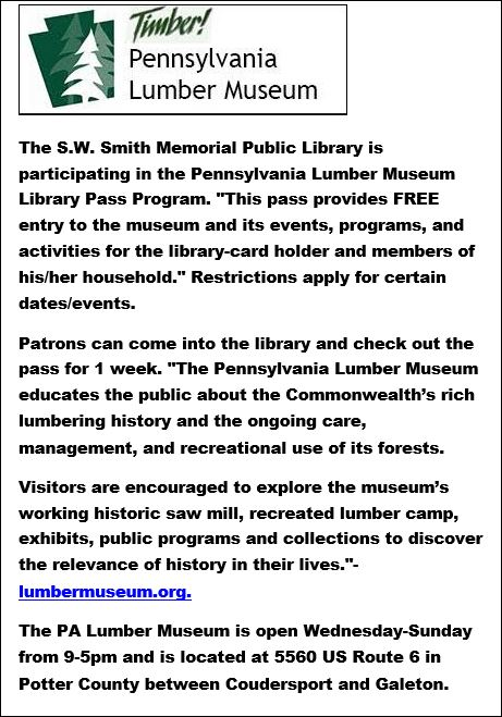 PA Lumber Museum Library Pass