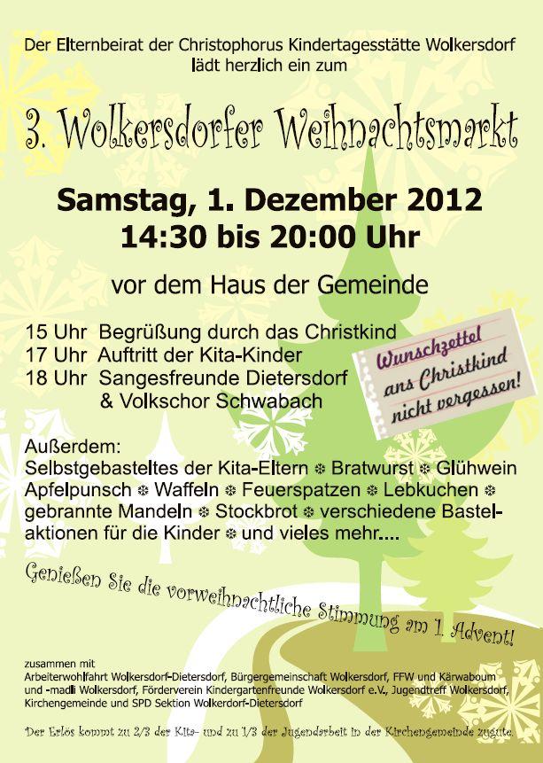 kindergartenfreunde wolkersdorf: einladung weihnachtsmarkt, Einladungen