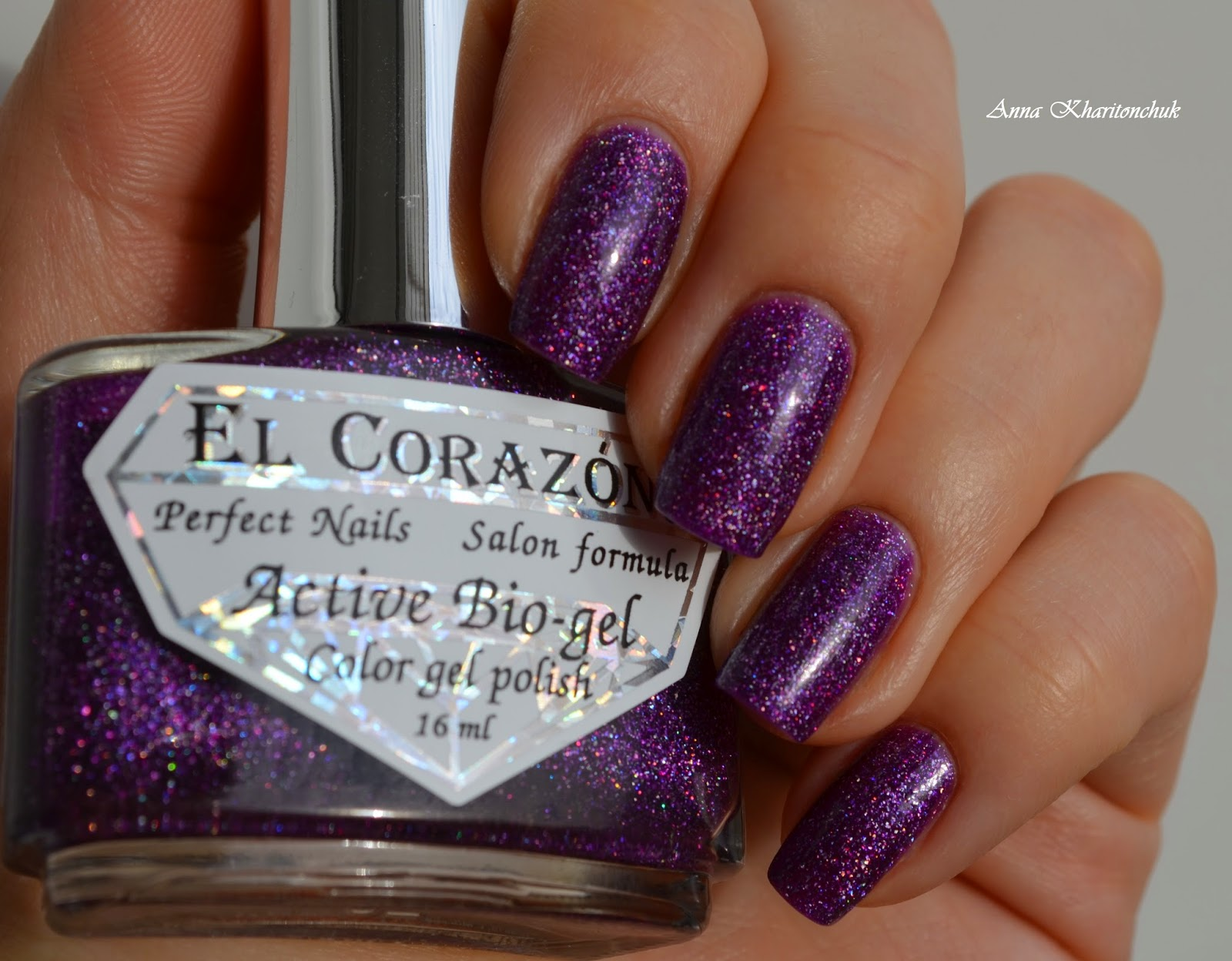 Winter11DNC. Фиолетовые ногти. EL Corazon Active Bio-Gel # 423/504 Large Hologram Butterfly и слайдер дизайн