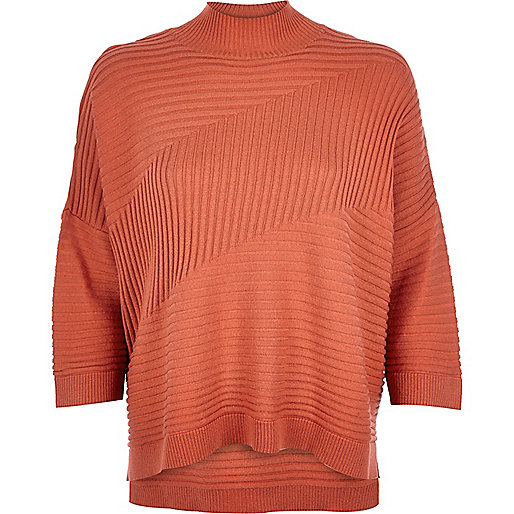 high neck top river island, high neck jumper, orange high neck jumper,