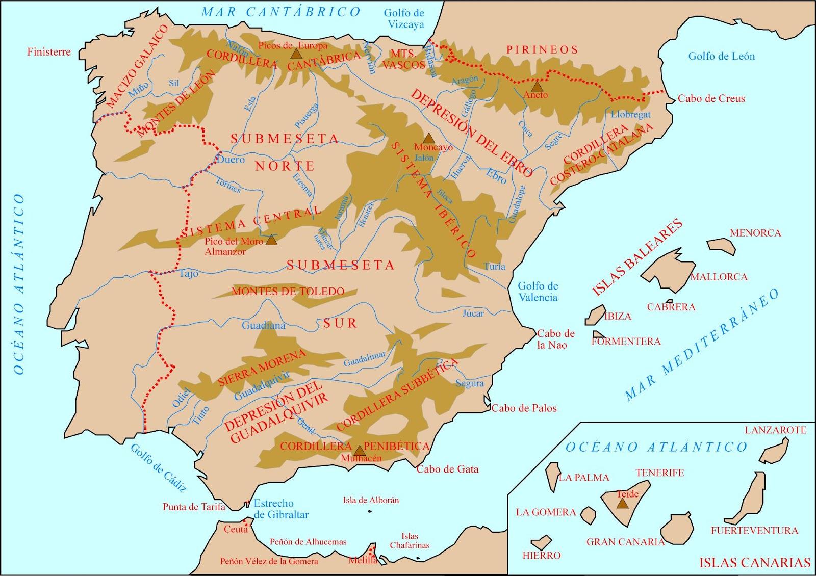 Mapa Rios Y Montaas De Espaa