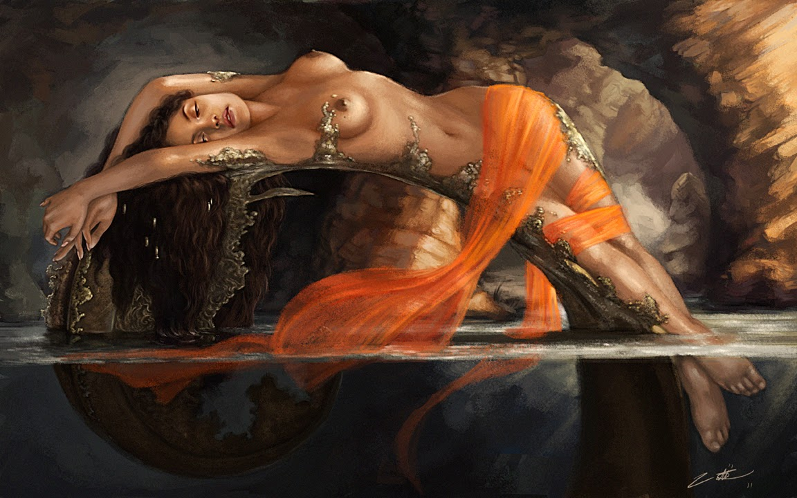 illustration de LaVata E. O'neal représentant une naïade topless sur une branche immergée