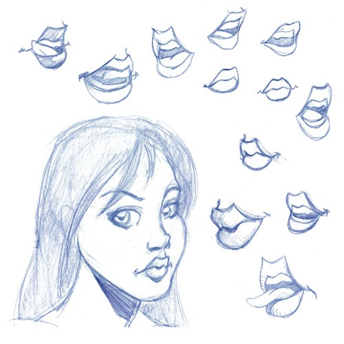 how to draw parted lips