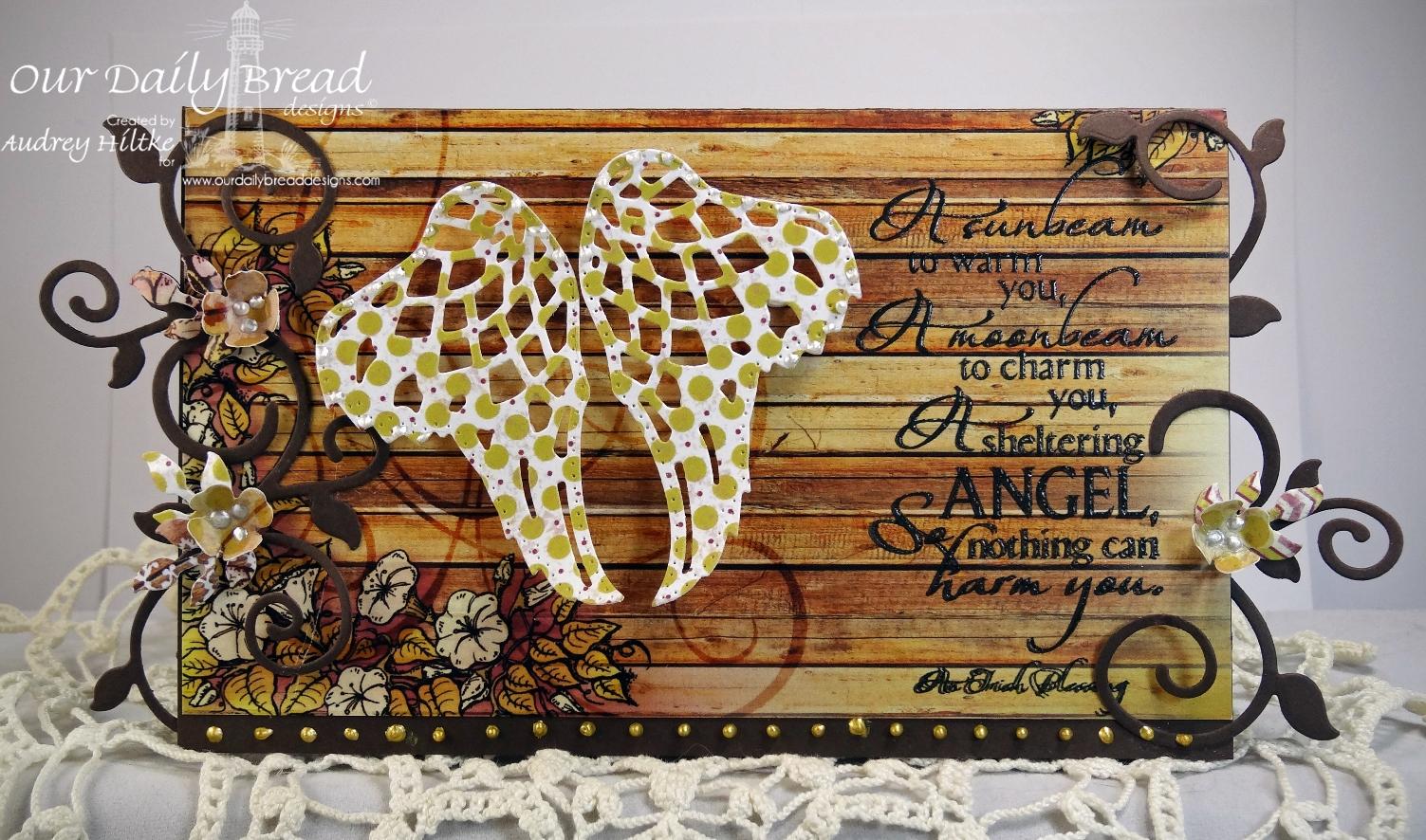 Stamps - Our Daily Bread Designs Sheltering Angel, ODBD Rustic Beauty Paper Collection, ODBD Custom Angel Wings Die, ODBD Custom Ornamental Crosses Die, ODBD Custom Fancy Foliage Die