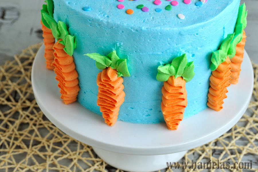 Cake Decoration Carrots : Haniela s: Easter Cake Decorated with Buttercream Carrots ...