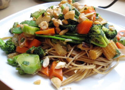 Kung Pao Noodles with Peanuts and Wok Fried Vegetables