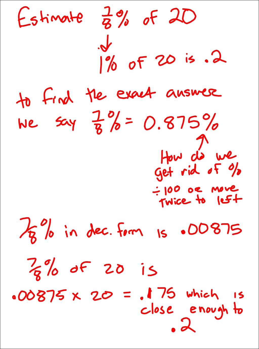 Homework help estimating percents