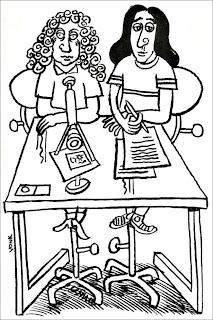 Cartoon van Berend Vonk met Anthony van Leeuwenhoek en Benedictus de Spinoza