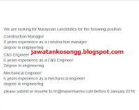 Maser Marine Engineering Kerja Kosong