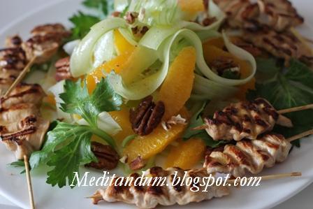 insalata di sedano, arance e noci