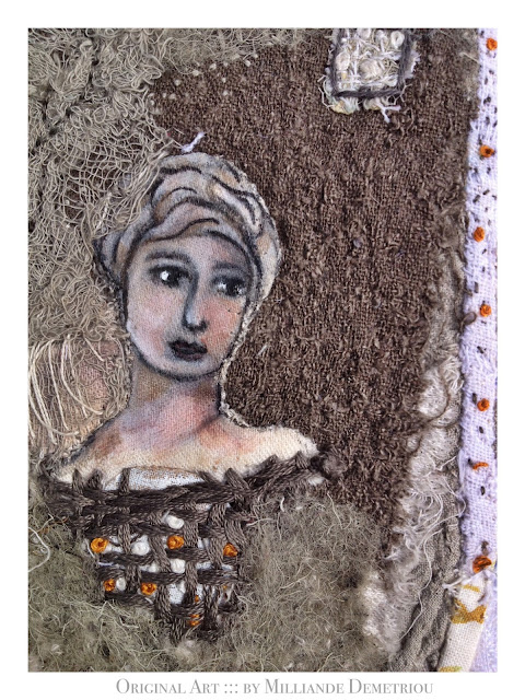 """ She who Harnesses Light' ORIGINAL ART FOR SALE by contemporary mixed media artist Milliande Demetriou, Shop at http://artstudioblog.milliande.com, #art #textiles #unrulyclothcanvas"