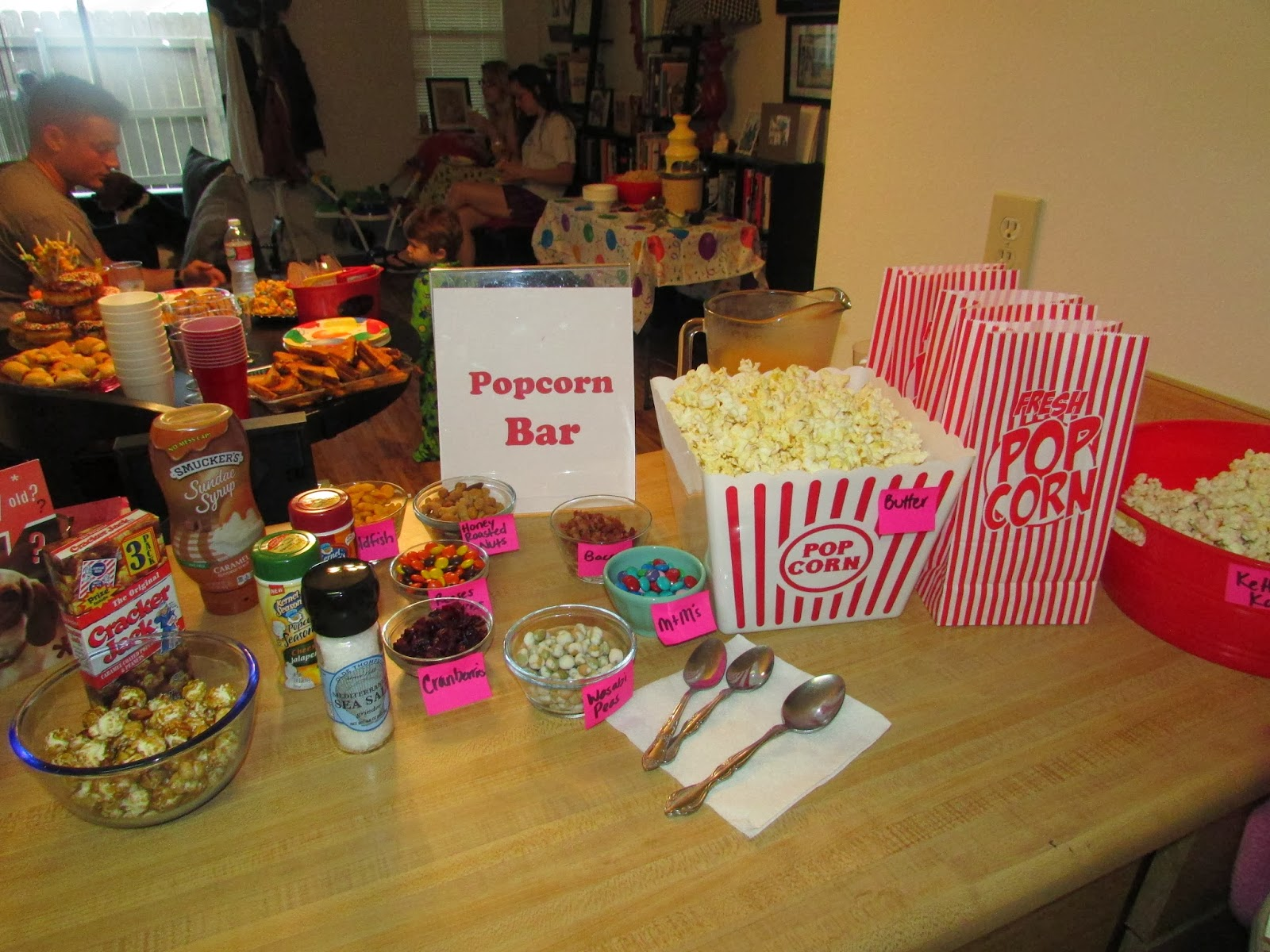 For The Love Of Food Birthday Pajama Party Featuring A Popcorn Bar Cheese Fountain And Donut Cake