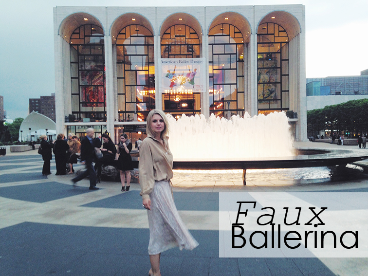Faux ballerina, Lincoln Center, New York City Ballet, Lincoln Plaza fountain, flowy skirt