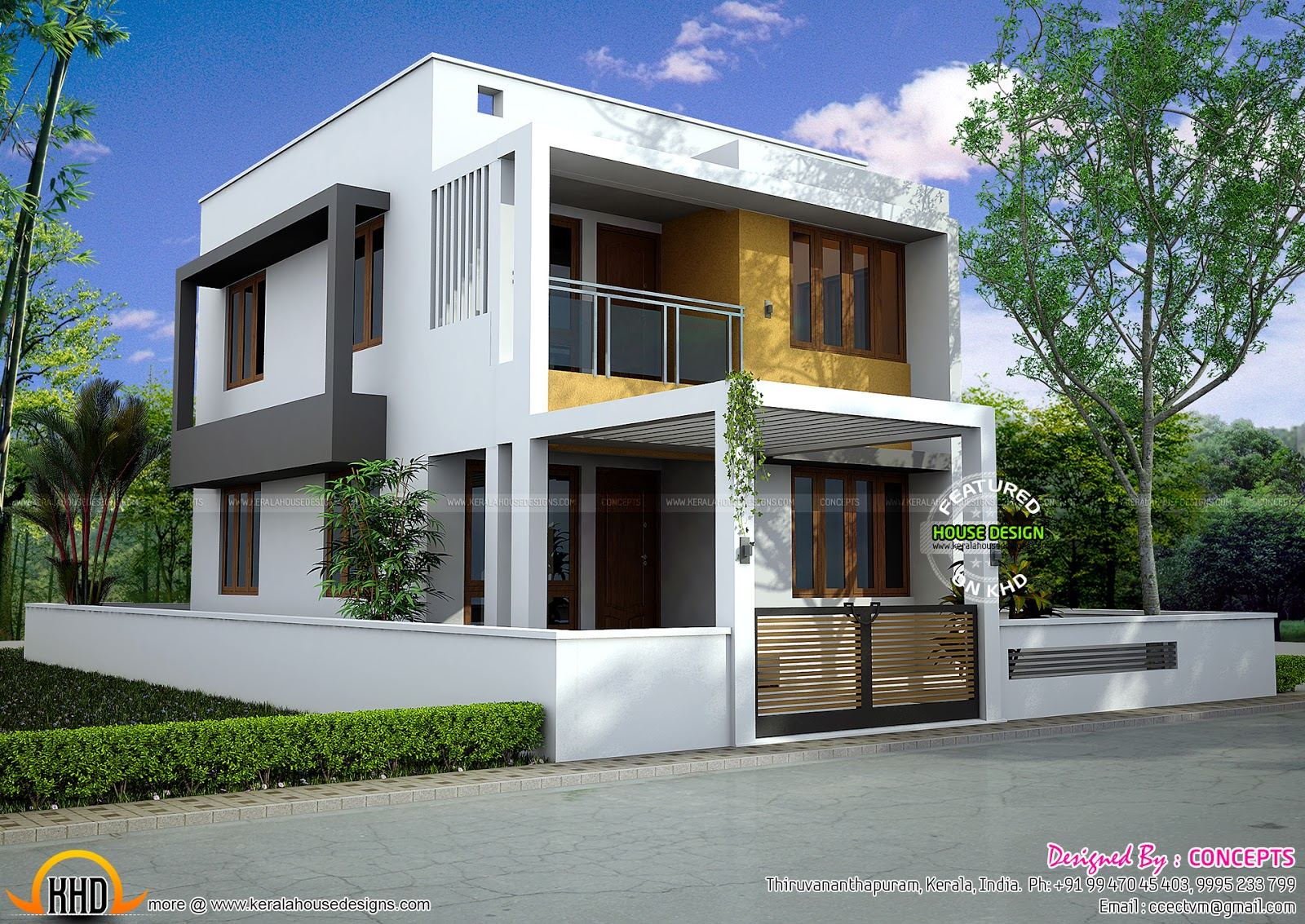 Floor plan of modern 3 bedroom house kerala home design for Modern 3 bedroom house design