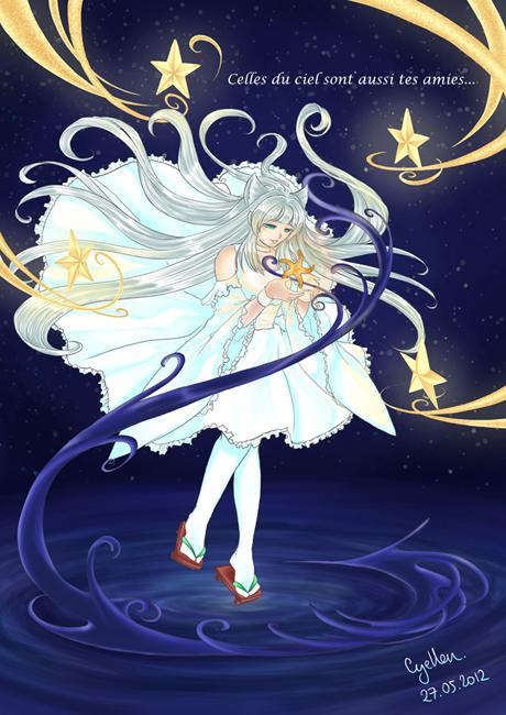 Fille entourée d'étoiles célestes et tenant une étoile de mer entre ses mains