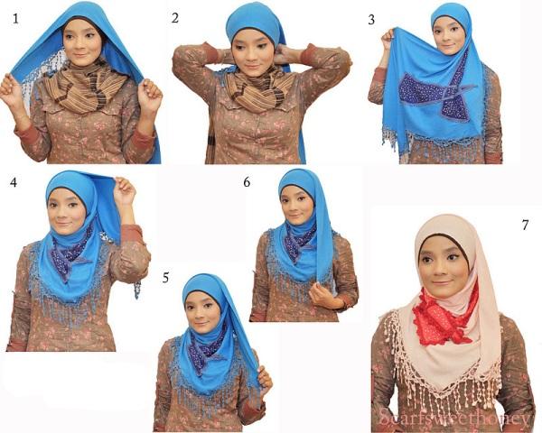 Gambar Cara Memakai Jilbab Modern Dengan Baik