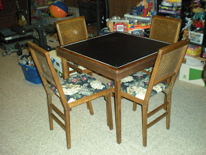 Card Table and Chairs in Basement