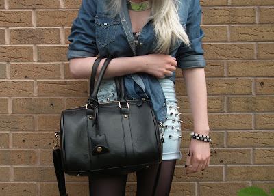 Double denim / DIY bleached studded shorts