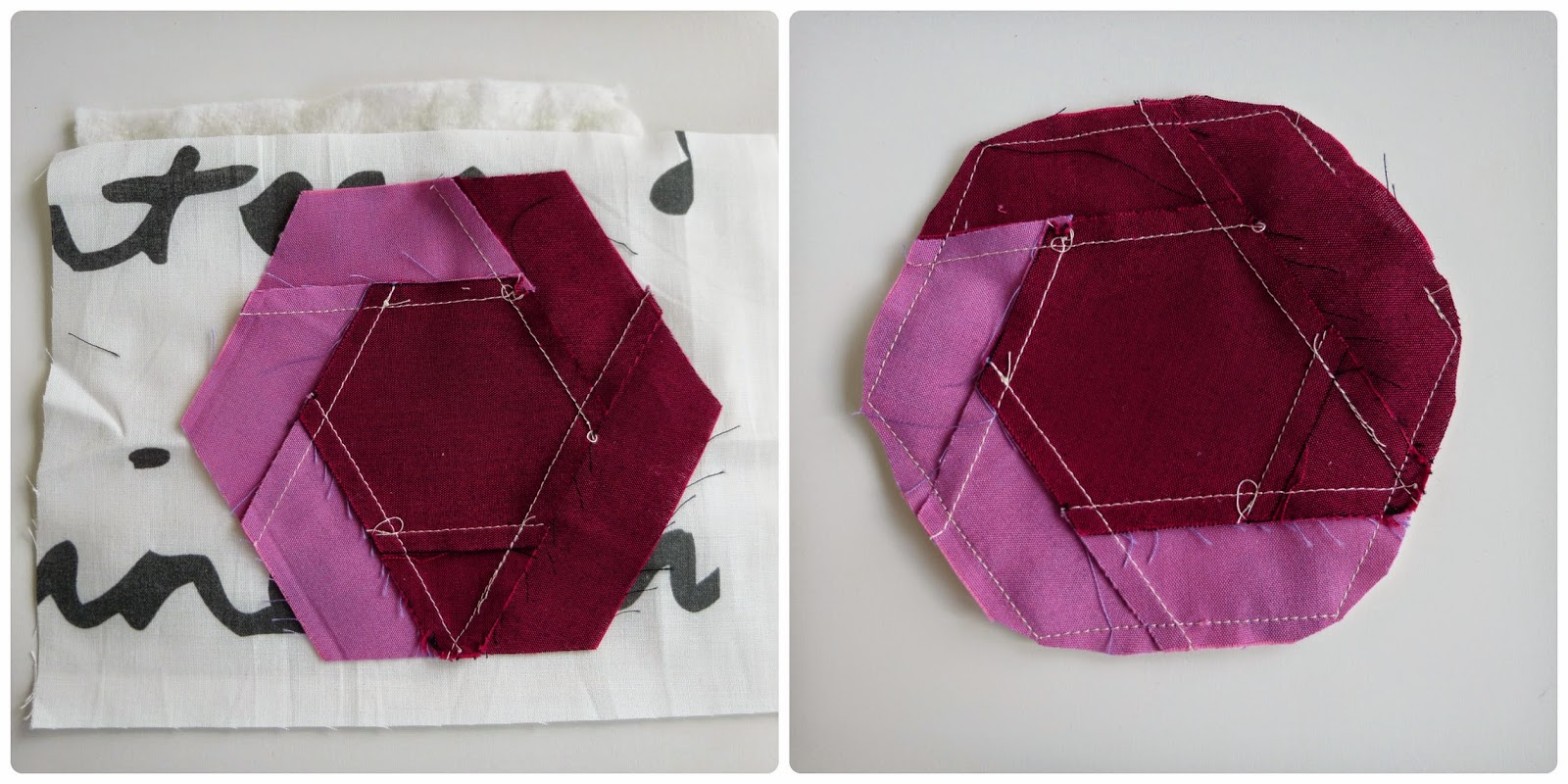 How to sew a log-cabin hexagon to make a table runner and matching set of coasters.