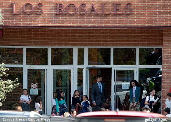 King Felipe VI of Spain is seen leaving his children school to attend Princess Leonor's first confession some days before her First Communion on April 29, 2015 in Madrid