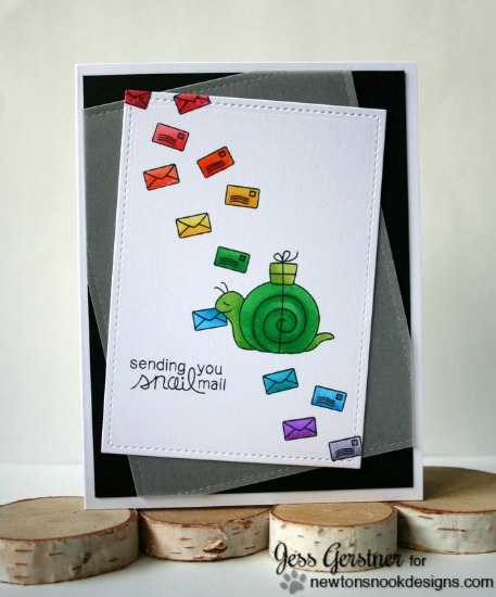 Snail Mail Card by Jess Gerstner | In Slow Motion Stamp set by Newton's Nook Designs